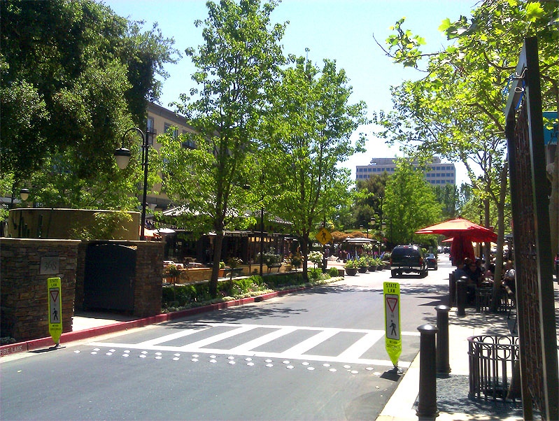 Santana Row is a fashionable outdoor shopping, dining and entertainment district in San Jose, California. Westfield Valley Fair is located just to its north, on the other side of Stevens Creek Boulevard, and the Winchester Mystery House just to the west, across Winchester Boulevard.