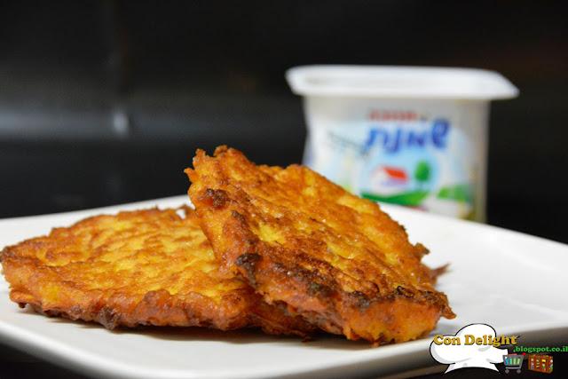 Sweet potato latkes לביבות חמות ומתוקות