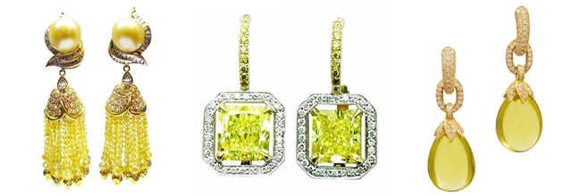 Luxury precious earrings with yellow stones