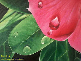 dewdrops on vinca flower acrylic painting by nimisha k