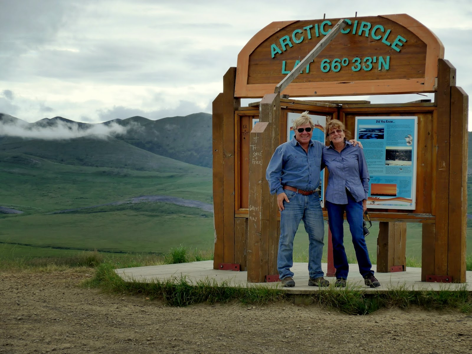 Anders and Liz at the Arctic circle sign.