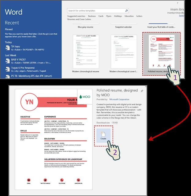 Cara 1 Membuat Dokumen Baru Berdasarkan Template Khusus