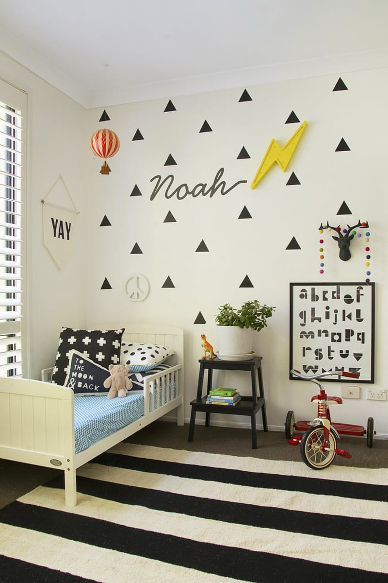 Inspirational kids room in monochrome - wall vinyls