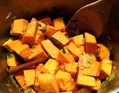 Chunks of Pumpkin Coated with Onions, Leeks, and Spices