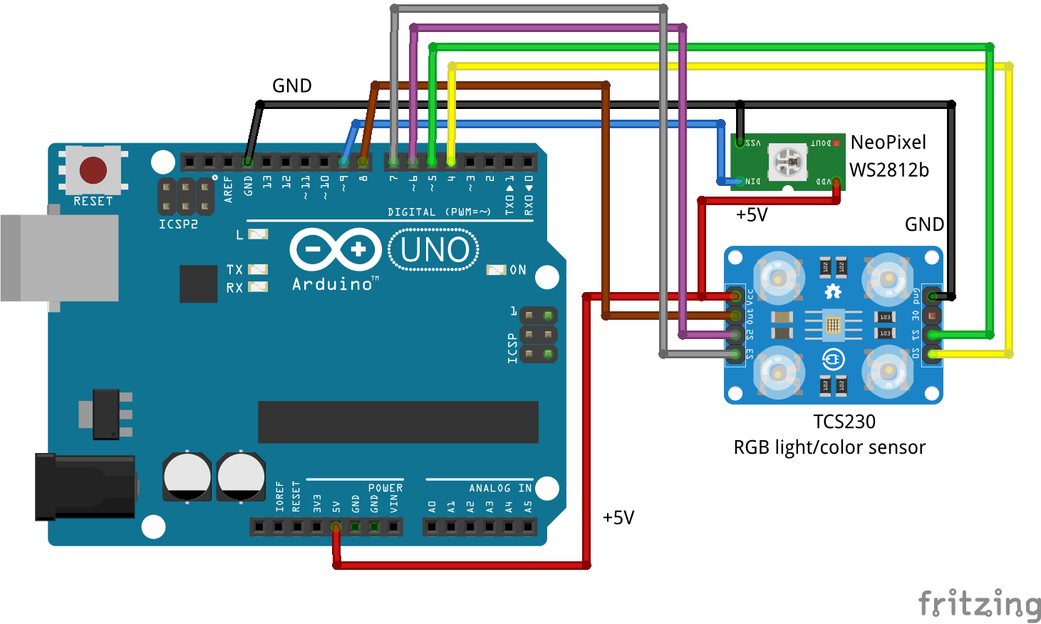 Fritzen Maker Tcs230 Rgb Color Sensor With Arduino Schematic Of The Rs232 Adapter Click To Enlarge Notice That Sketch Can Control A Neopixel Ws2812b And Also Send Serial Monitor Ide Image