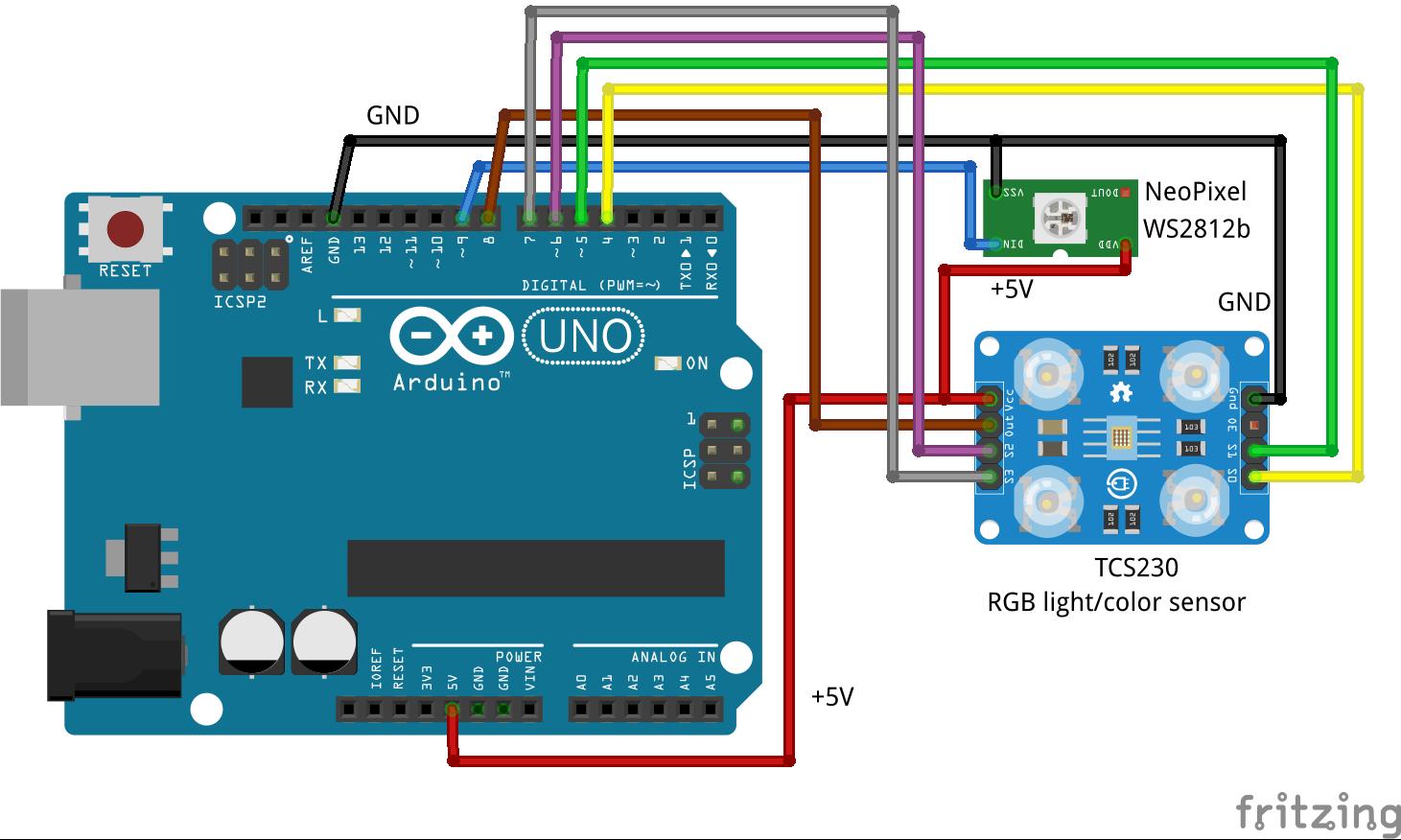 Fritzen maker tcs rgb color sensor with arduino