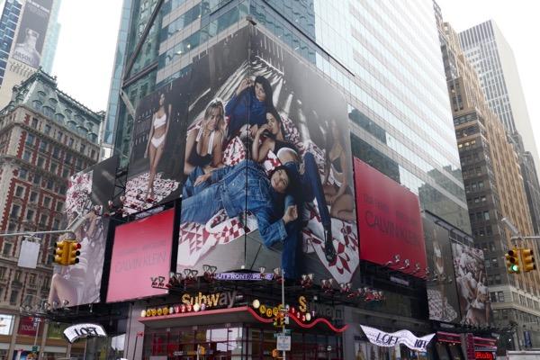 Calvin Klein denim Kardashians billboards Times Square