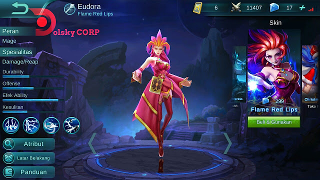 Hero Eudora ( Flame Red Lips ) High Damage Build Set up Gear
