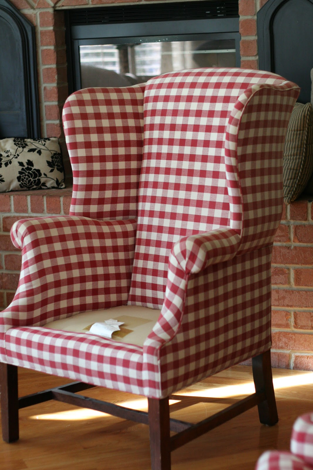 Red Wingback Chair Slipcover Reclaimed Wood Buffalo Check Slipcovers Myideasbedroom