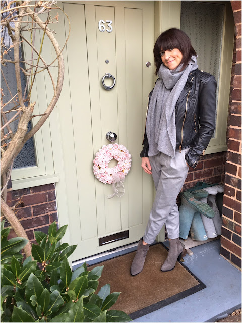 My Midlife Fashion, Zara leather biker jacket, zara cashmere scarf, mango pleated trousers, zara grey cowboy heeled boots