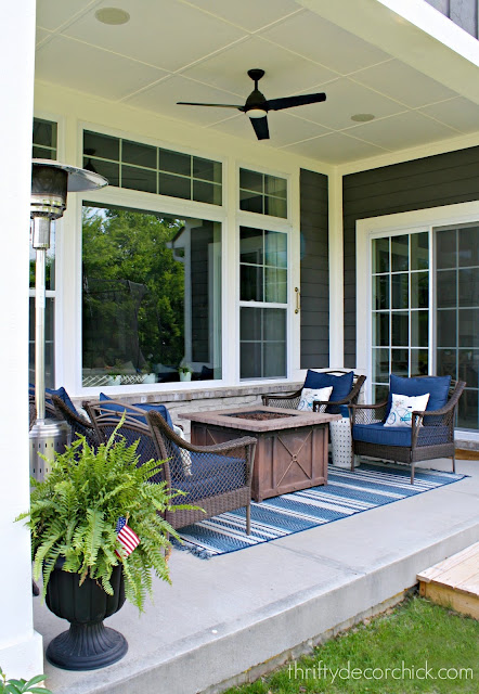 blue and white outdoor decor