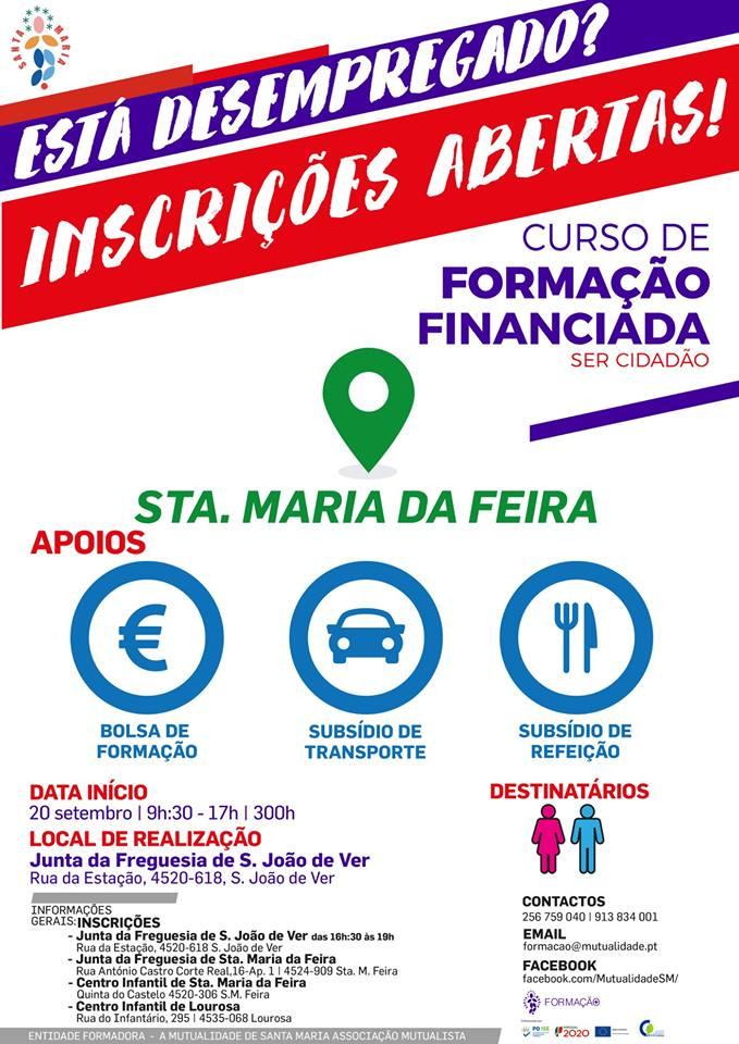 formação financiada em São João de Ver