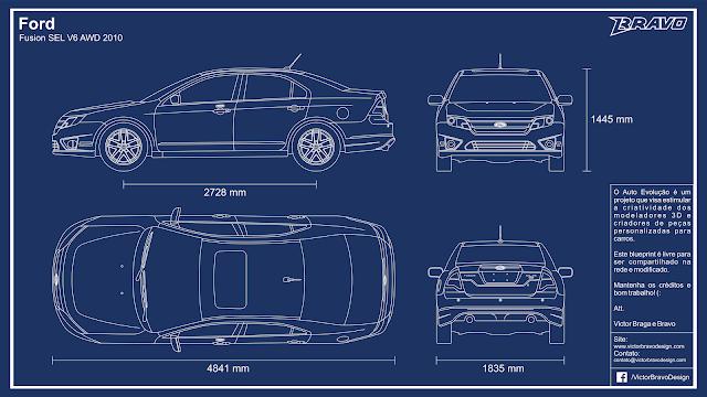 Imagem mostrando o desenho do blueprint do Ford Fusion SEL V6 AWD