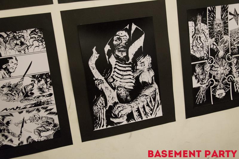 Le stampe esposte da Francesco Biagini al Basement Party.