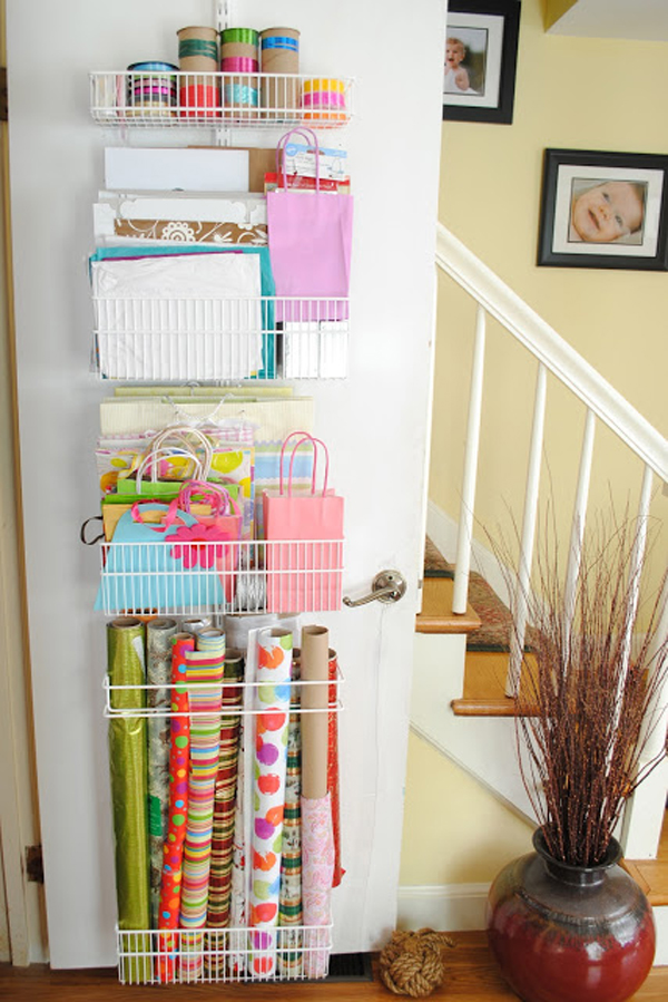 ... door for greeting card storage but you could also use a door for wrapping paper and gift bag storage like Jen from the Chronicles of Home did on her ... & organizing with style Genius Wrapping Paper Organizer Ideas | Blue ...