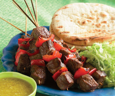Grilled Steak Kebab Pitas with Ginger & Garlic Dressing