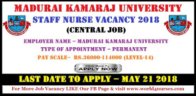 Madurai Kamaraj University Nurse Vacancy May 2018 (Central Job)