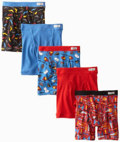 Fruit of the Loom Boys 2-7 5 PACK Toddler Covered Waistband Boxer Brief, Prints And Solids, 2T/3T