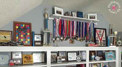 running medal athletic award display shelf and race bib bulletin board