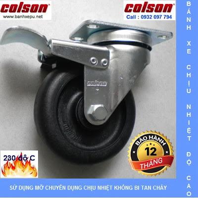 Bánh xe đẩy hàng chịu nhiệt 230 độ Colson có khóa | 2-4646-53HT-BRK4 banhxedayhang.net