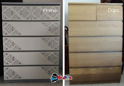 prima e dopo il restyling di una cassettiera ikea