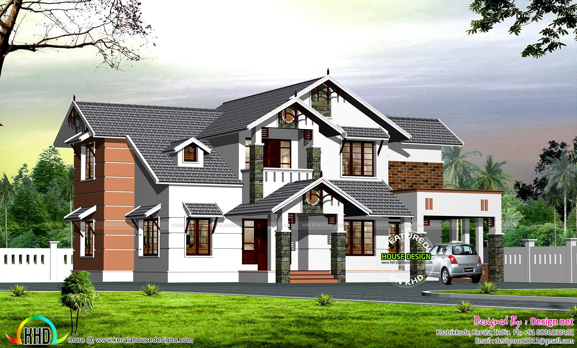 Dormer window modern sloping roof house kerala home for Modern sloped house design