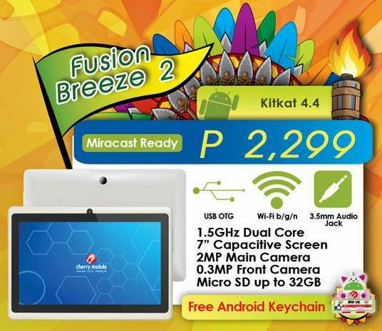 Cherry Mobile Fusion Breeze 2 and Fusion Aura, Dual Core KitKat Tablet for Php2,299