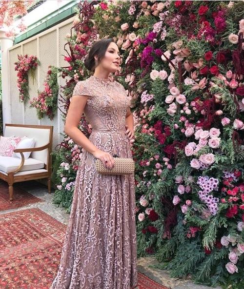 vestido de festa manga curta rose