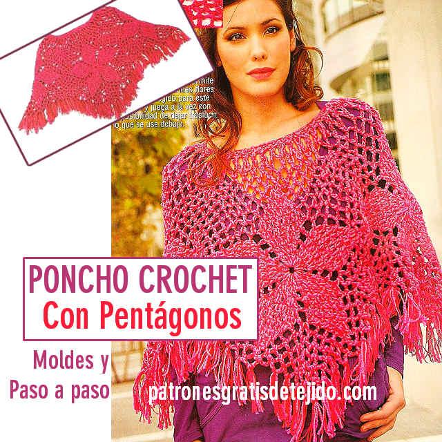 poncho crochet de motivos pentagonales