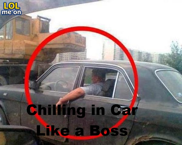 Chilling in Car Like a Boss - Funny Pictue With Caption