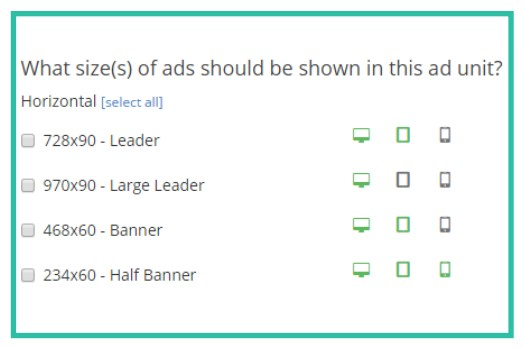 Pick Ads Size in Ezoic
