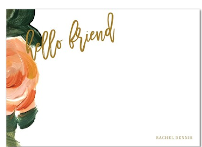TinyPrints - Hello Tenfold Hello Friend Creamiscle Personal Stationery