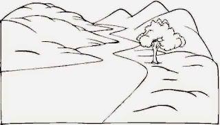 Sketsa Mewarnai Gambar Pemandangan Alam Pegunungan 20168