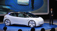 VW unveiled its first long distance electric car at the Paris motor show last month (Credit: © Bloomberg) Click to Enlarge.