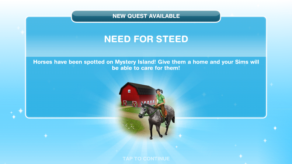 sims freeplay quests and tips saddle up quest need for steed. Black Bedroom Furniture Sets. Home Design Ideas
