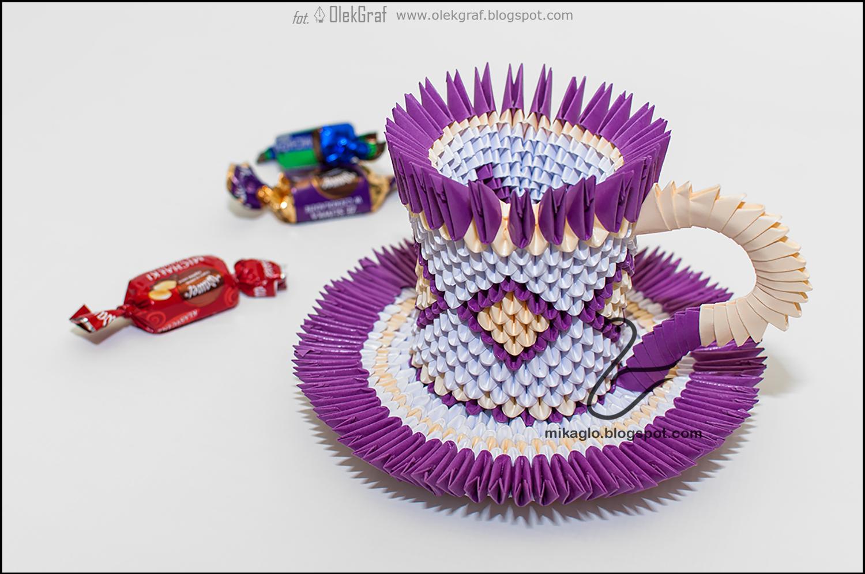 Origami 3d - mikaglo: 525. Filiżanka z origami w fioletach ... - photo#40