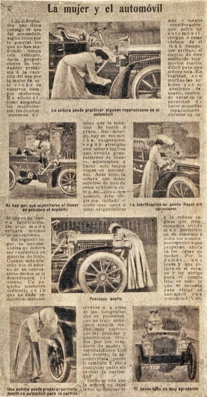La mujer y el automóvil una nota de la revista PBT de 1905. Fue publicada en c8fb1bb2de1