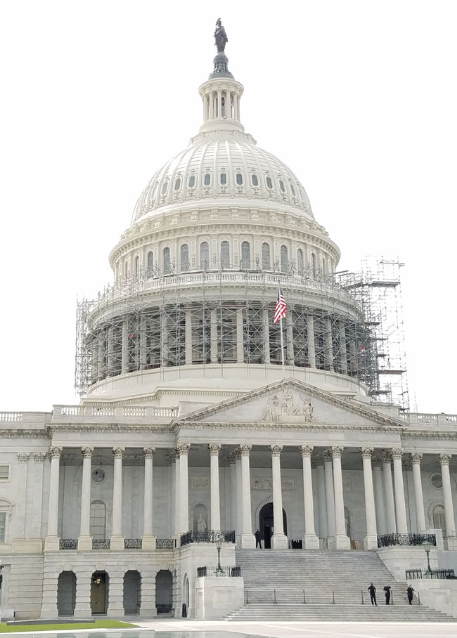 capitol building with scaffolding on it