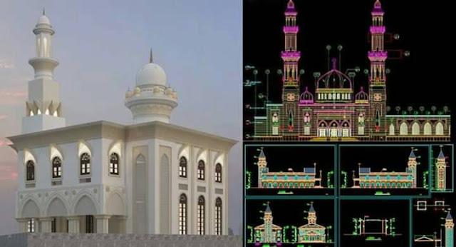 gambar kerja masjid DWG