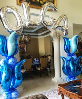 Elegant balloon column with balloon name arch