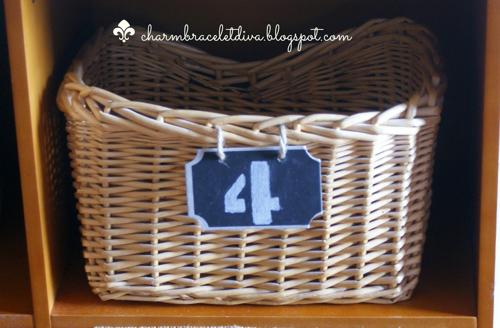 storage basket with number 4 chalkboard tag