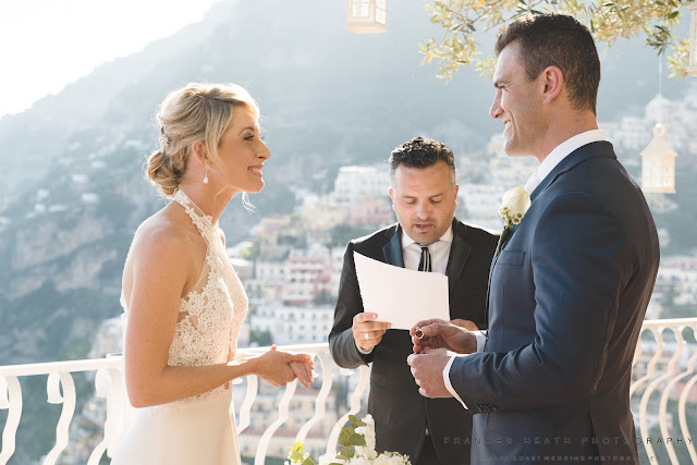 Exchanging wedding rings at Villa Oliviero