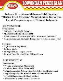 Hisana Fried Chicken Butuh Assisten dan Part Time Store