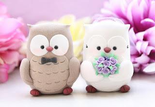 sweet owl wedding cake topper