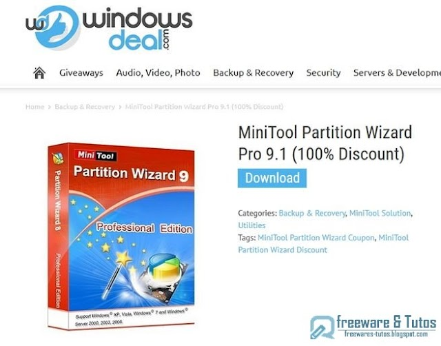 Offre promotionnelle : MiniTool Partition Wizard Pro 9.1 gratuit !