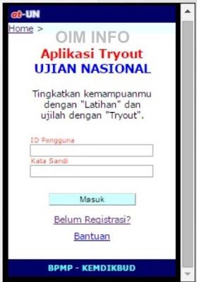 Tampilan Utama Aplikasi Tryout Ujian Nasional