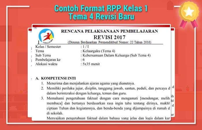 Contoh Format RPP Kelas 1 Tema 4 Revisi Baru