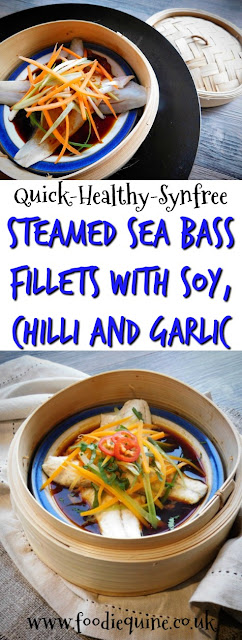 www.foodiequine.co.uk Punchy Asian flavours abound in this healthy, quick and easy fish dish which is SYN FREE on Slimming World. Steamed Sea Bass Fillets with Soy, Chilli and Garlic using frozen fish cooked in a bamboo steamer over a wok. On the table in less than 10 minutes.