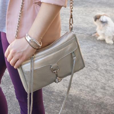 purple skinny jeans, Rebecca Minkoff metallic silver mini MAC | AwayFromTheBlue