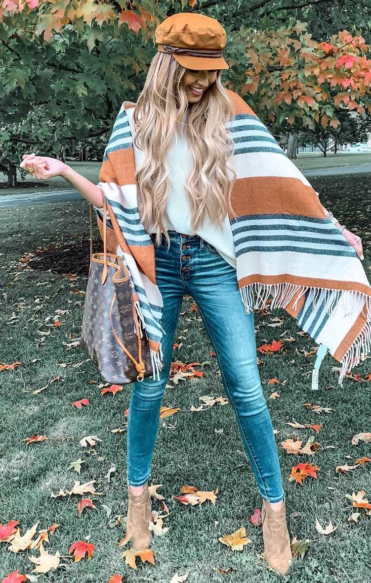 what to wear with a striped scarf : bag + white top + hat + skinnies + boots